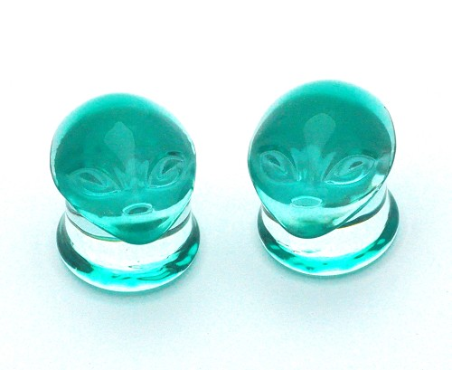 Green Alien Head Glass Plugs