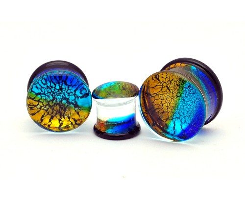 Glass Plugs with Multicolored Crack Design