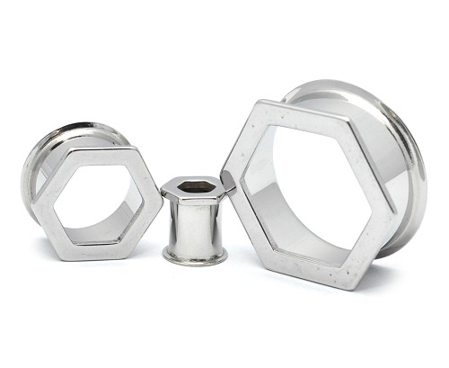 Plain 316L Stainless Steel Double Flared Tunnels with Hexagon Front