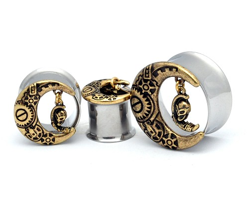 316L Stainless Steel Tunnels  with Gold Plated Steampunk Moon and Dangling Alien