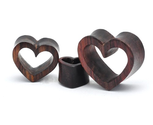 Sono Wood Double Flared Heart Shaped Tunnels