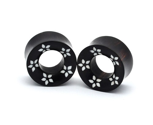 Areng Wood Tunnels with White Flower Rim