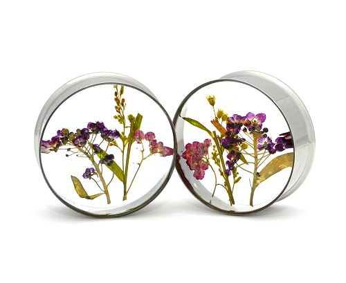 Embedded Multi Flower Resin Plugs (Profile View)
