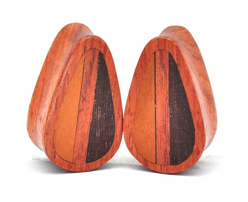 Bloodwood Plugs with Three Wood Inlay