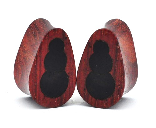 Bloodwood Plugs with Triple Ebony Inlay
