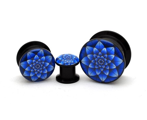 Black Acrylic Blue Lotus Picture Plugs