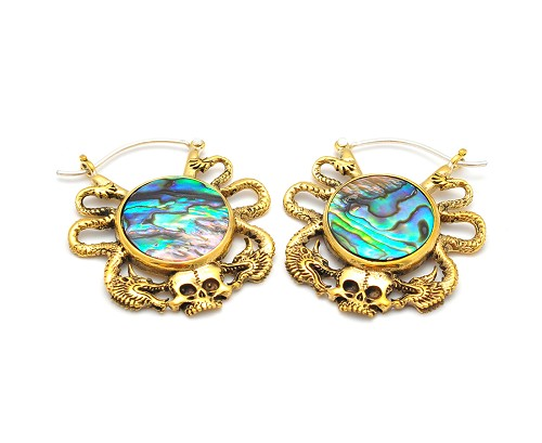 Gold Skull and Serpent with Abalone Earhoops