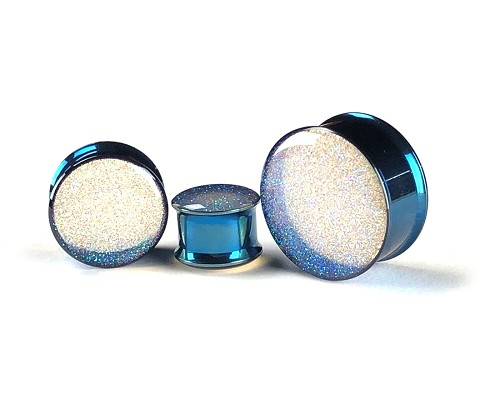 Pearl Blue Glitter Plugs