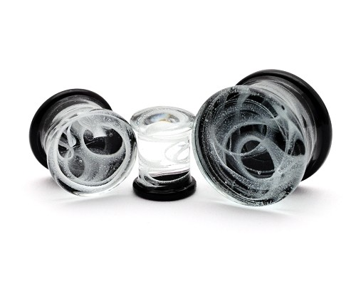 Glass Double Flare Plugs with White Swirls