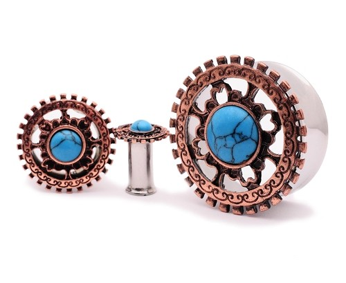 316L Steel with Antique Bronze Tribal Shield and Turquoise Stone