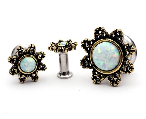 316L Double Flare Tunnels with Lotus Flower Top and Opal Center