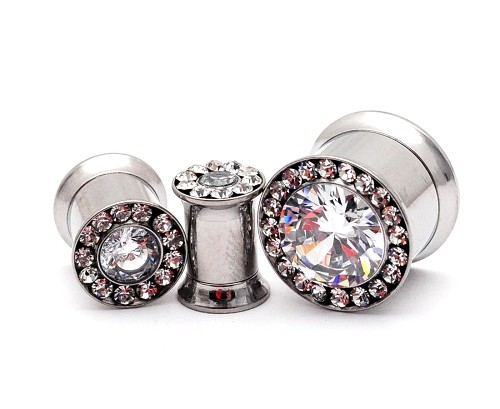 316L Steel Double Flare Tunnels with Large Centered CZ and CZ Rim