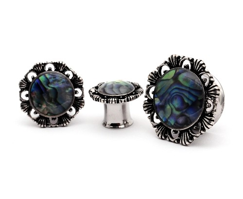 316L Stainless Steel Tunnels with Abalone Centered Vintage Floral Top