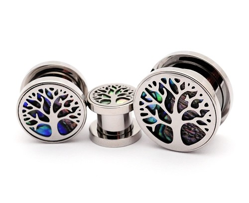 316L Stainless Steel Screw on Tunnels with Abalone Inlay Under Tree of Life