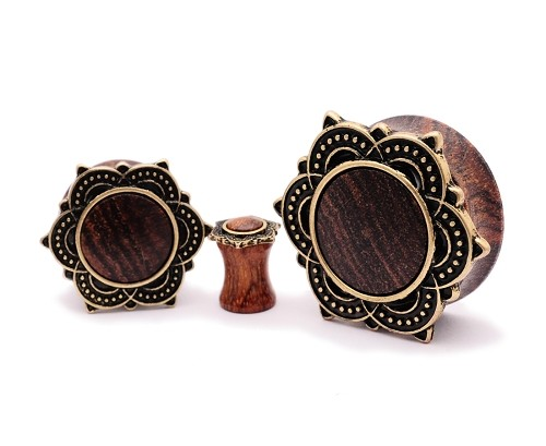 Rose Wood Plugs with Brass Tribal Lotus