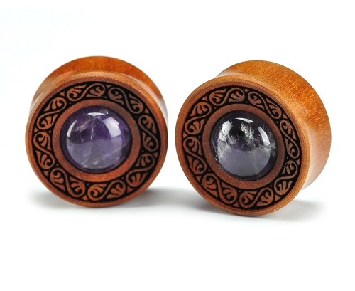 Laser Engraved Saba Wood Filigree Plugs with Amethyst Inlay