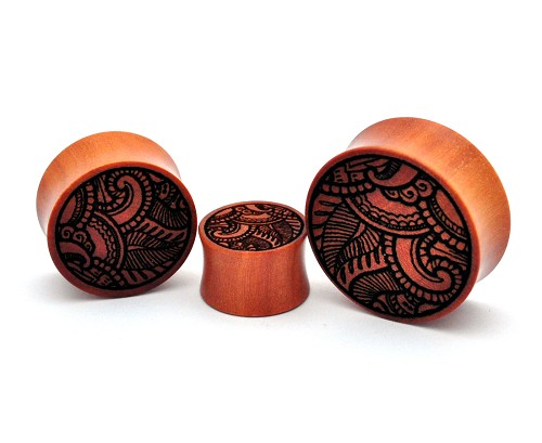 Laser Engraved Offset Floral Style 2 Saba Wood Plugs