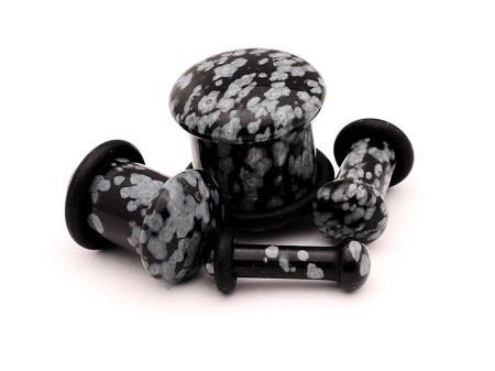 SINGLE FLARE Snow Flake Obsidian Stone Plugs