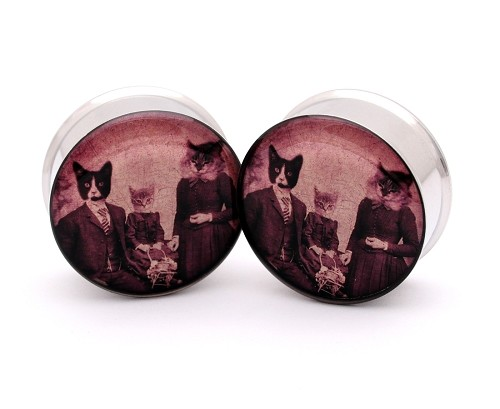 "*Special Offer* - 1-1/8"" (28mm) Cat Family Picnic Double Flare Plugs"