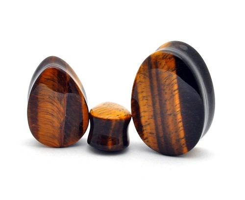 Tiger Eye Teardrop Stone Plugs