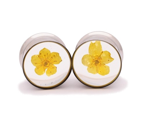Embedded Yellow Bridal Wreath Flower Resin Plugs
