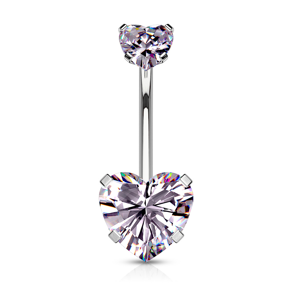 316l Surgical Steel Navel Ring With Heart Shaped Cz