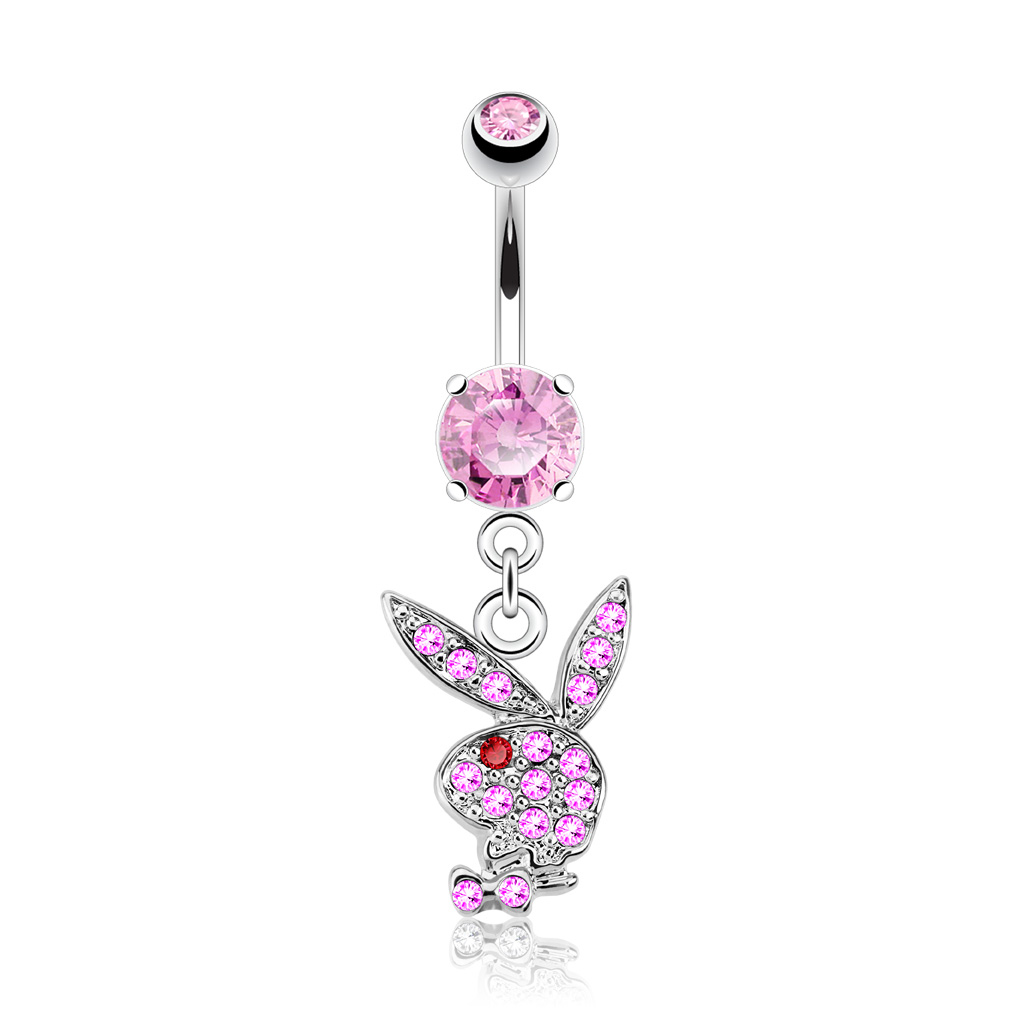 SILVER SURGICAL STEEL CRYSTAL PAVE LICENSED PLAYBOY DANGLE BELLY NAVEL RING