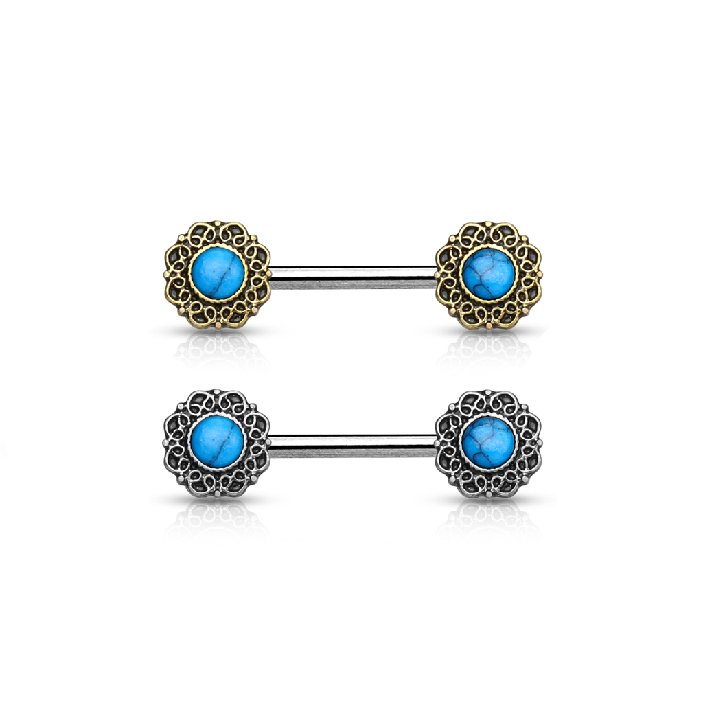 Surgical Steel Nipple Barbells w//Turquoise Centered Tribal Flower Ends Antique Silver