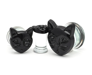 Black Cat Head Glass Plugs