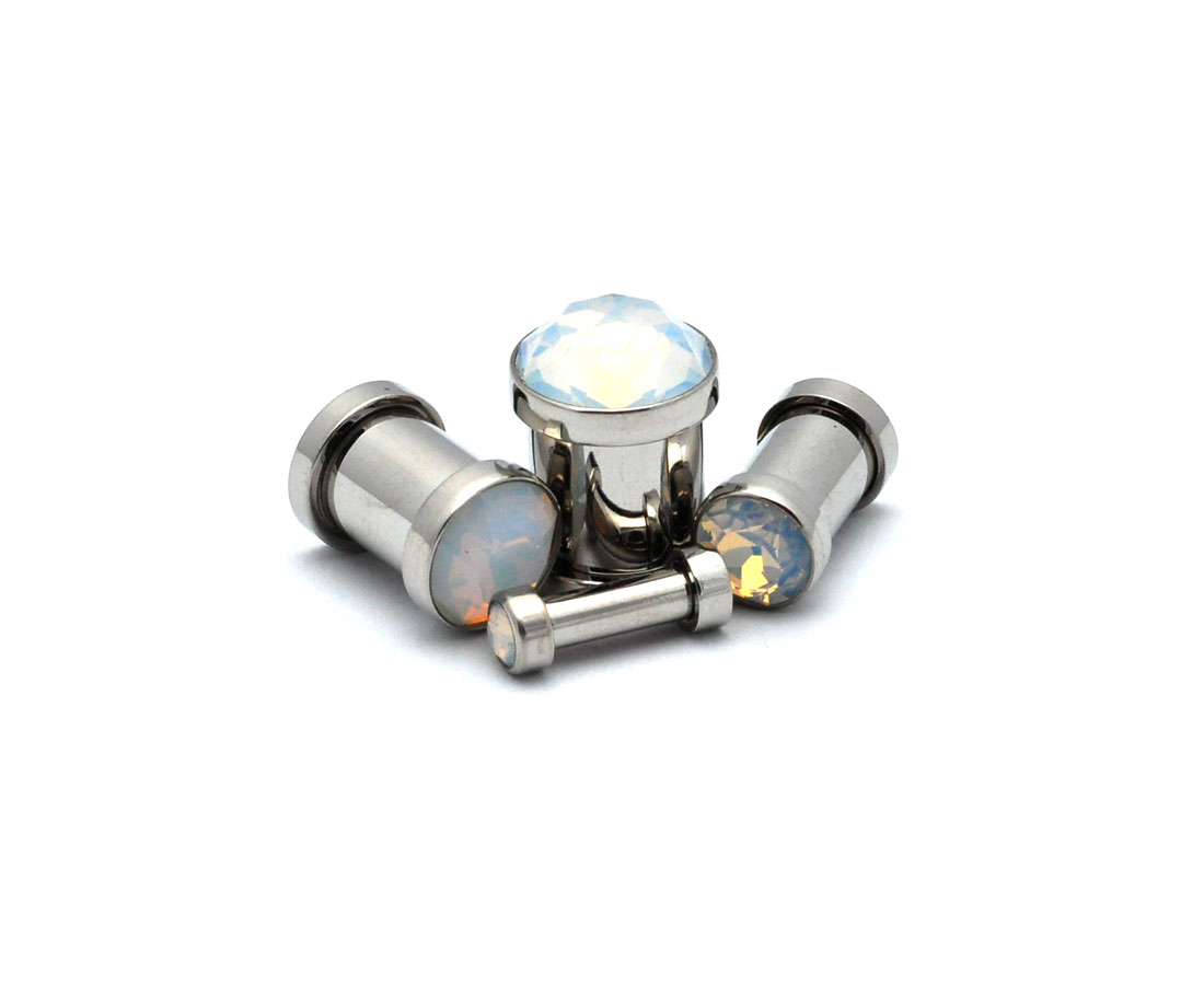 Pair of Press Fit Gem 316L Surgical Steel Screw Fit Tunnels