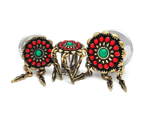 316L Surgical Steel Double Flared Tunnel with Tribal Flower and Feather Dangles