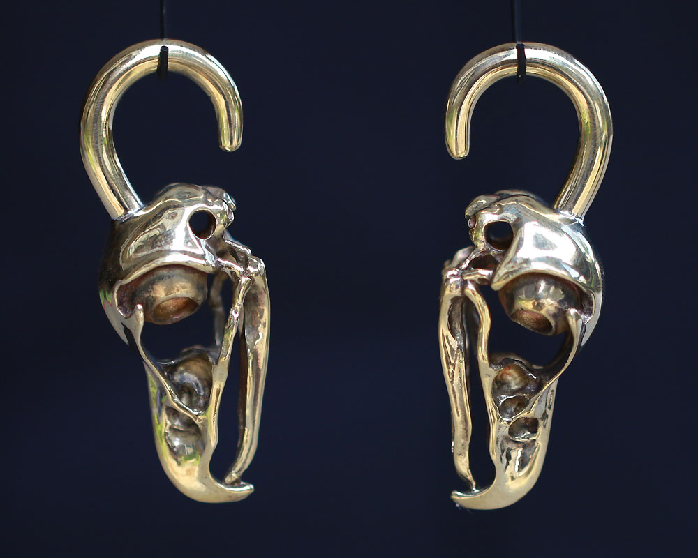 Ram skull ear Weights ear weights-1 pair skull saddle ear weight,white brass saddle