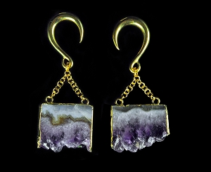 Brass Hook Ear Weights with Dangling Natural Amethyst Slice