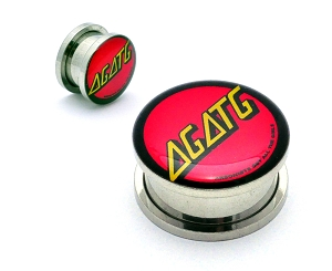 AGATG Santa Cruz Skate Metal Steel Picture Plugs