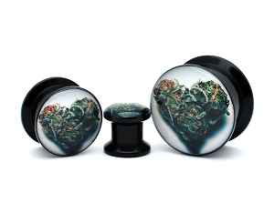 Black Acrylic Love Bud Picture Plugs
