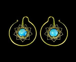 Pair of Round Brass Ear Weights with Flower and Center Stone