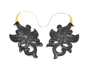 Buffalo Horn Floral Design Hook Earrings