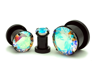 316L Black Steel Screw on Plugs with Single Prong Set Multicolored CZ