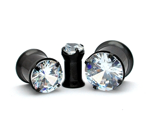 Black Steel Double Flare Tunnels with Prong Set Clear CZ gem