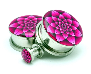 Fuchsia Lotus Picture Plugs