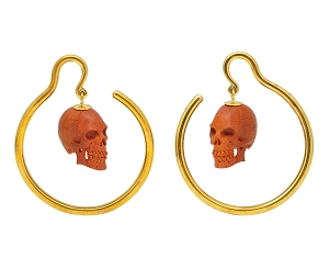 Brass Ear Weights with Dangling Carved Saba Wood Skull