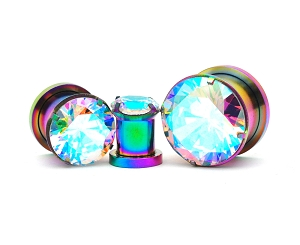 316L Rainbow Steel Screw on Plugs with Single Prong Set Multicolored CZ