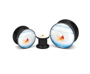 Black Acrylic Goldfish Picture Plugs
