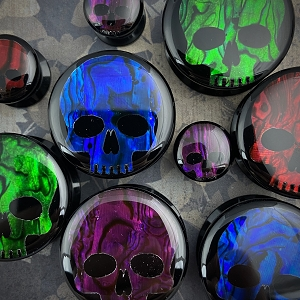 Black Acrylic Embedded Colored Abalone Skull Plugs