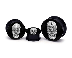 Black Acrylic 4-eyed Skull Picture Plugs