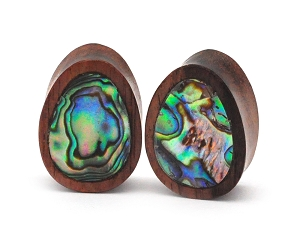 Sono Wood Teardrop Plugs with Abalone Inlay
