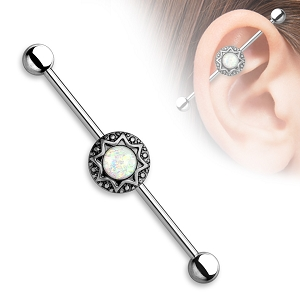 316L Stainless Steel Industrial with Opal Glitter Centered in Antique Tribal Starburst