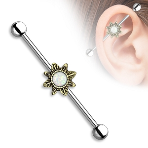 316L Stainless Steel Industrial with Opal Glitter Centered Antique Sunburst