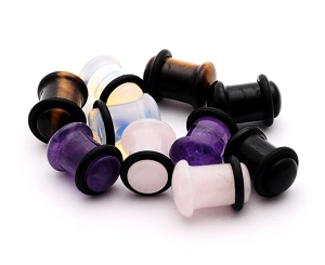 Set of 5 Pairs Single Flare Stone Plugs - Amethyst, Black Agate, Opalite, Tiger Eye, Rose Quartz