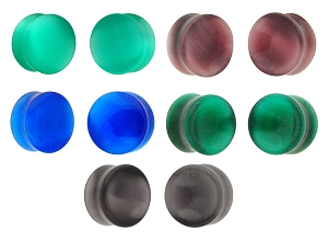 Set of 5 Pairs Cat Eye Stone Plugs - Blue, Light Green, Dark Grey Concave, Purple Concave, Emerald Green Concave
